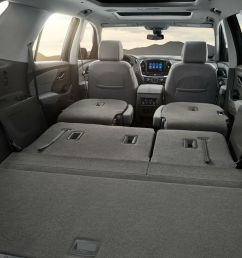 rear seats folded flat for storage in the 2019 chevy traverse [ 1200 x 800 Pixel ]