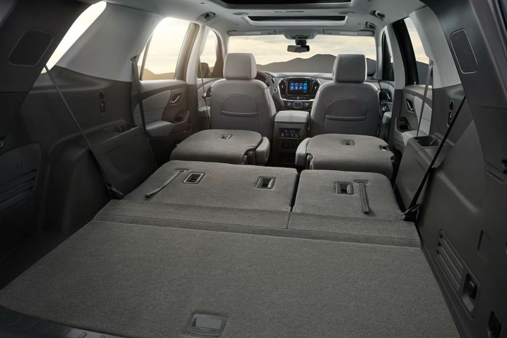 medium resolution of rear seats folded flat for storage in the 2019 chevy traverse
