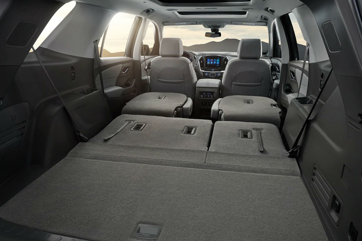 hight resolution of rear seats folded flat for storage in the 2019 chevy traverse