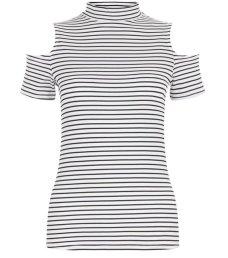 white-stripe-funnel-neck-cold-shoulder-top