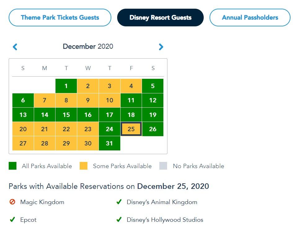 disney park pass christmas day resort