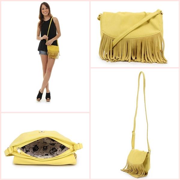 bolsa amarela com franjas