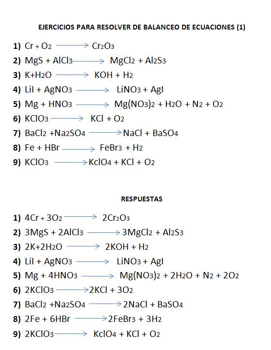 EJERCICIOS DE BALANCEO DE ECUACIONES POR REDOX PDF