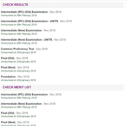 ca result 2019