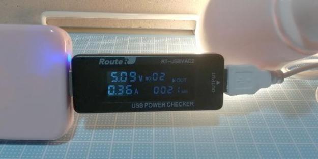 実際の消費電力は、5.09V約0.36A…2w弱程度?
