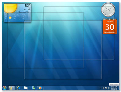 ویژگی نامرئی شدن پنجره ها در ویندوز 7
