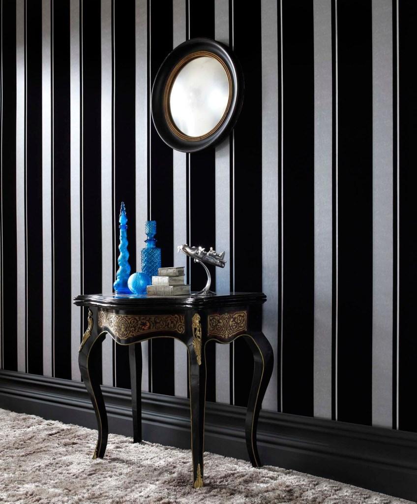 bold striped black and silver wallpaper