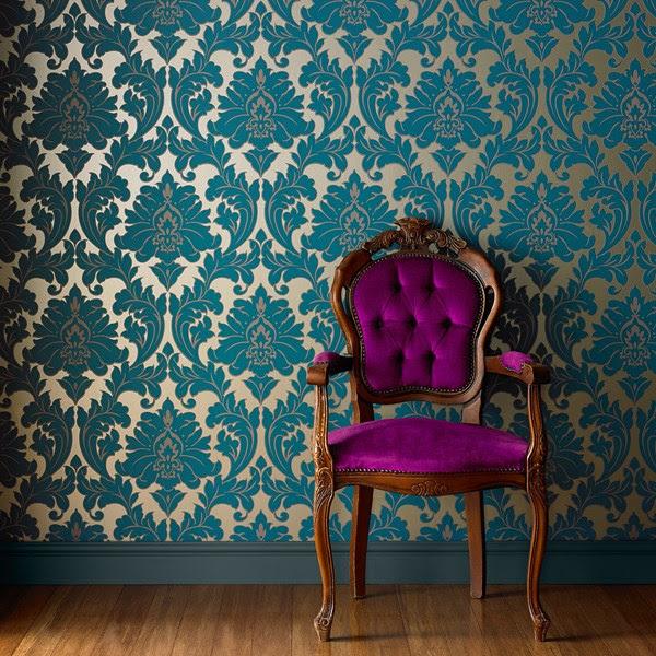 damask teal wallpaper