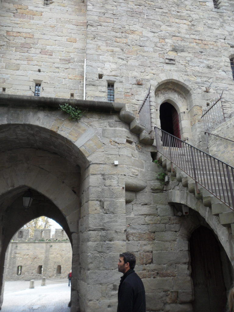 Archways and stone staircase at the medieval castle, Carcassonne