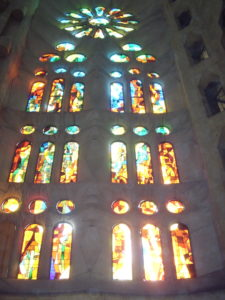 A stained glass arched window, Sagrada Familia