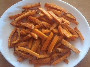 sweet potato chips baked on the plate