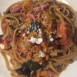 Vegetable and bacon rosemary linguine