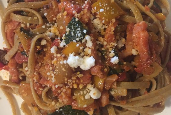 bacon-vegetable-linguini