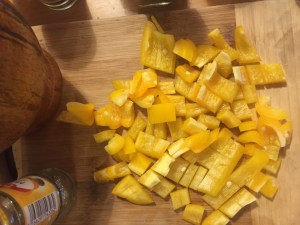 chopped yellow peppers