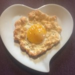 Fluffy baked egg on a plate