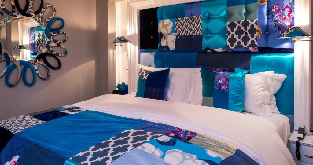 Blue patchwork bedroom