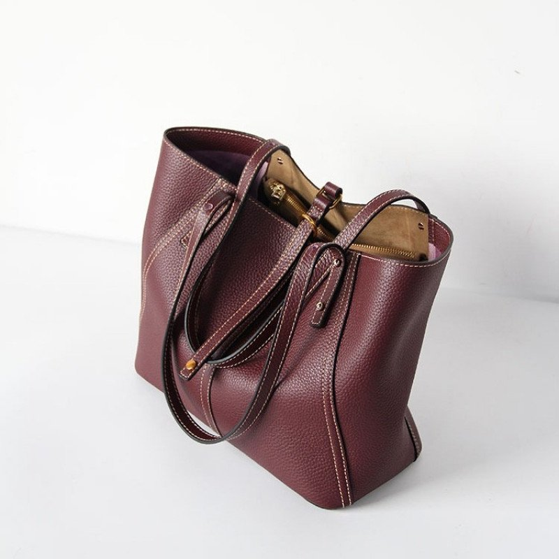 Burgundy Genuine Leather Tote Bag