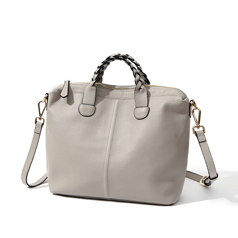 Beige Leather Big Tote Bag