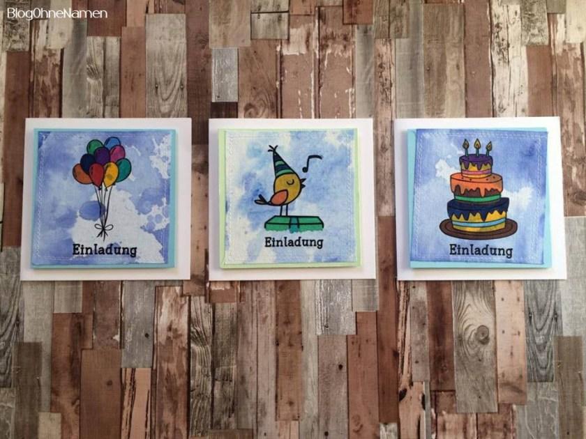 3Einladungen mal anders. Mit Plotter,Textilfarbe und ein bisschen Papier etwas hübsches für einen Kindergeburtstag zaubern.