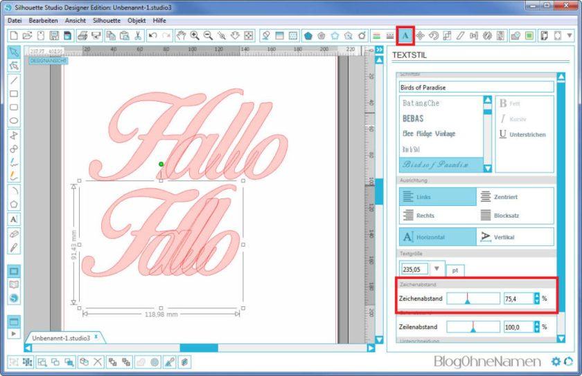 Plotter - Schriftarten - Wie man Buchstaben auseinander schiebt (2)