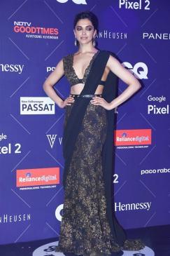 Deepika Padukone in Sexy Black Saree at Van Heusen + GQ Fashion Nights 2017