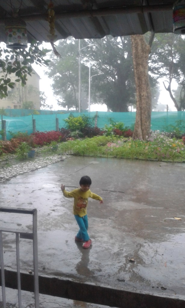 Enjoying a little rain dance..