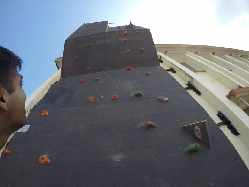 It's a 25 feet by 8 feet wall with a beginners route. I am too heavy to climb it. But I will eventually!