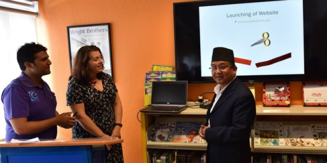 Mr. Dinesh Kumar Thapaliya, Secretary at the Ministry of Information & Communications and spokesperson of US Embassy Nepal jointly launching 'Econstruction app' | Image Source: US Embassy Nepal
