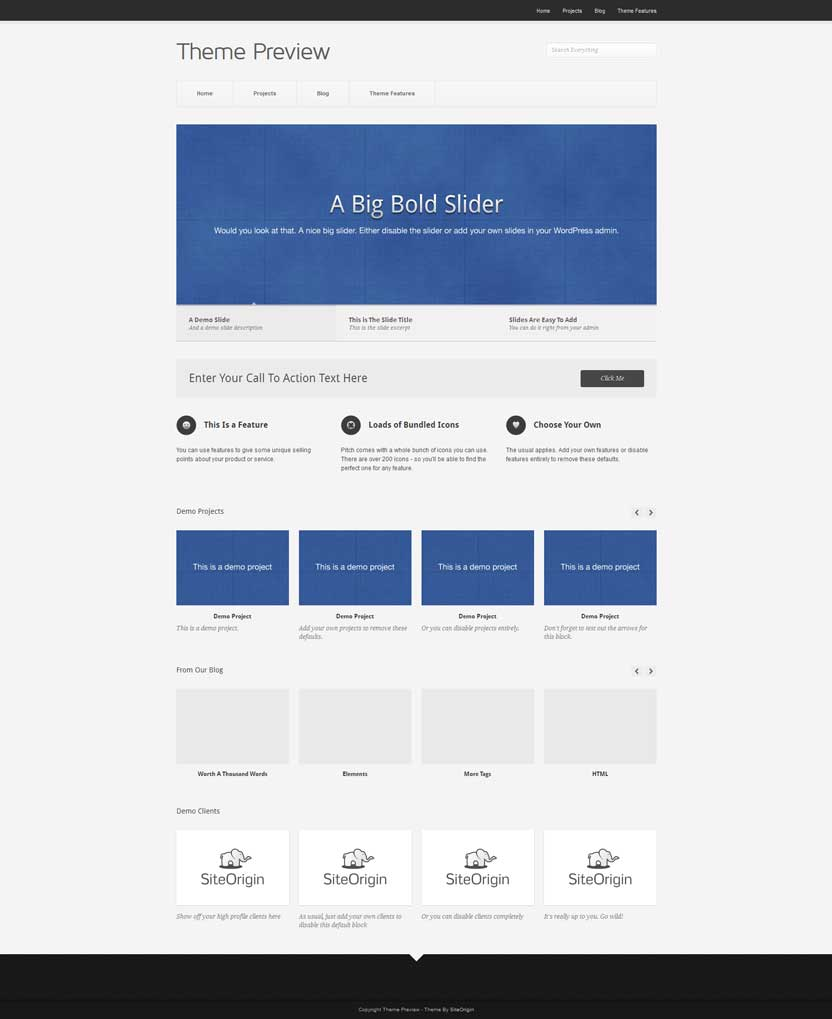 Pitch free WordPress portfolio theme