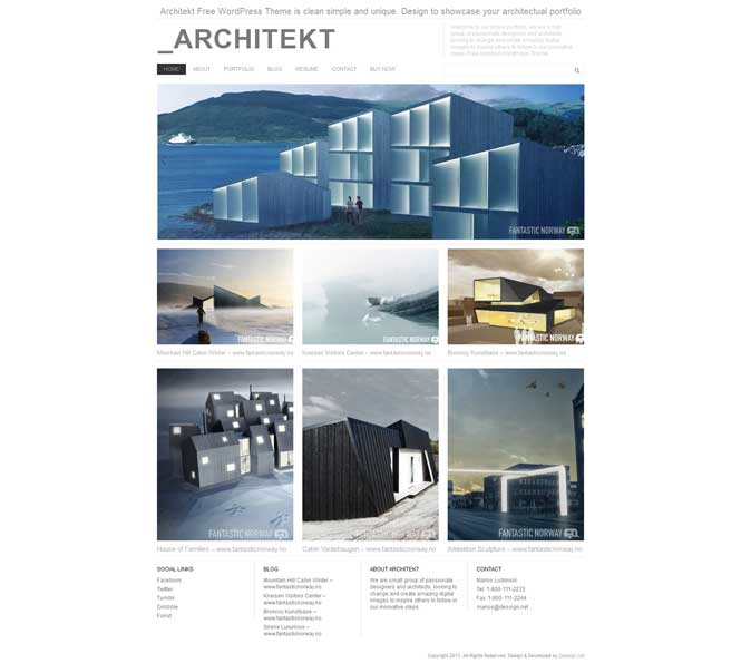 architekt portfolio theme for wordpress