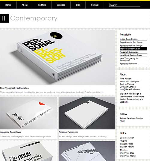 contemporary wordpress theme