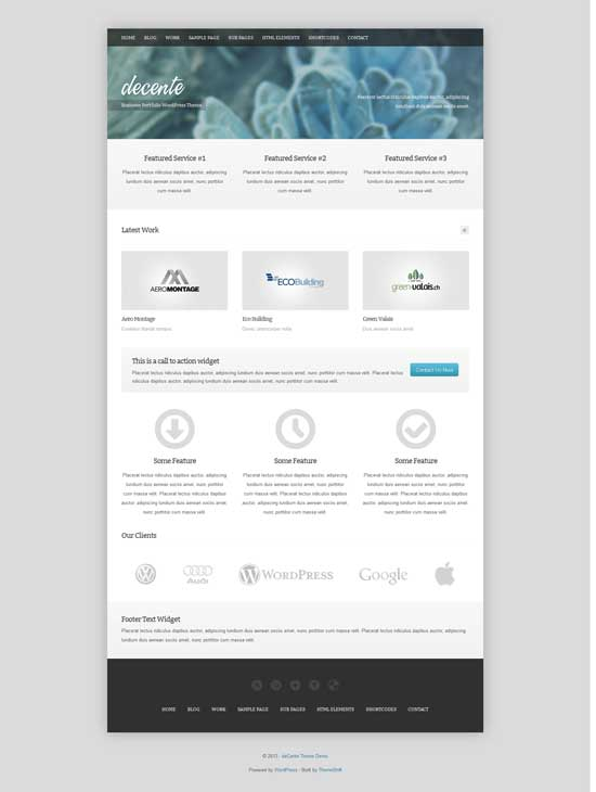 decente free wordpress portfolio theme