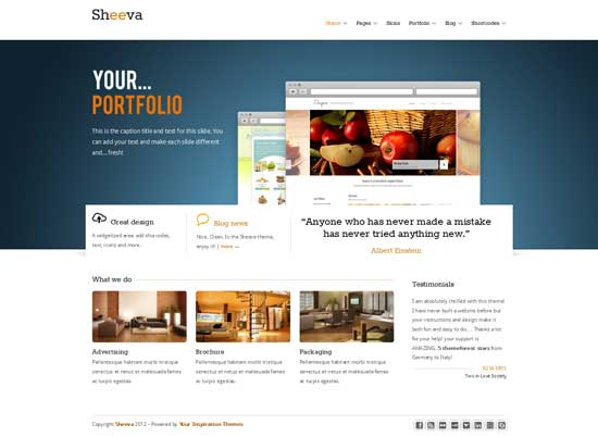 free portfolio theme sheeva wordpress