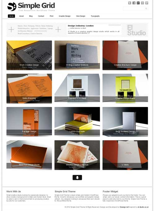 Simple grid free wordpress portfolio theme
