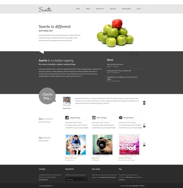 suerte corporate free wordpress theme
