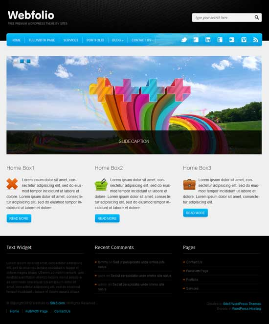 wefbolio wordpress theme free download