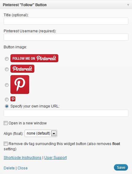pinterest follow button wordpress