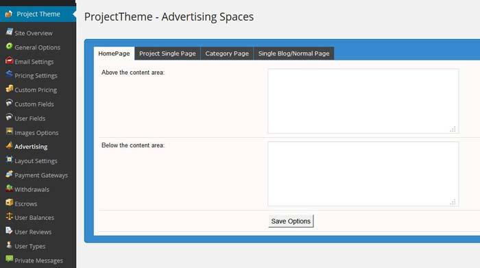 WordPress project theme advertising settings