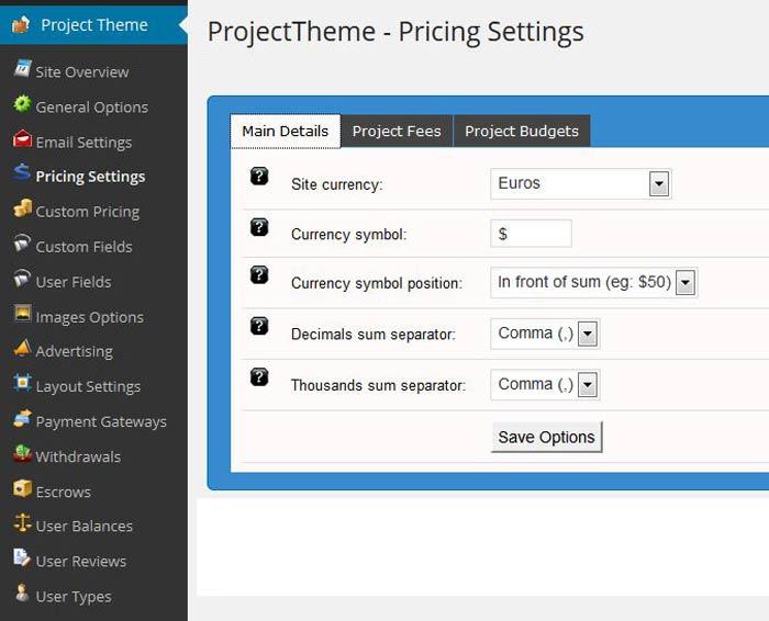 WordPress Project theme pricing settings