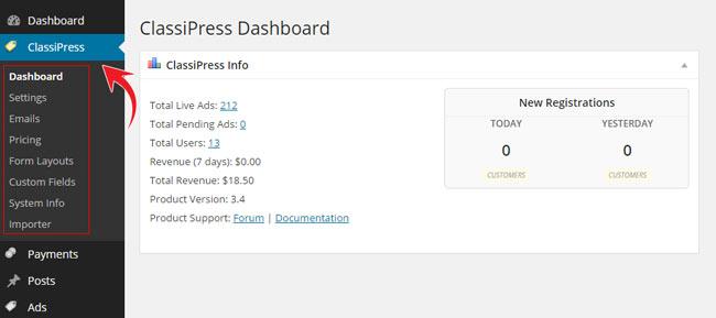 classipress settings menu wordpress