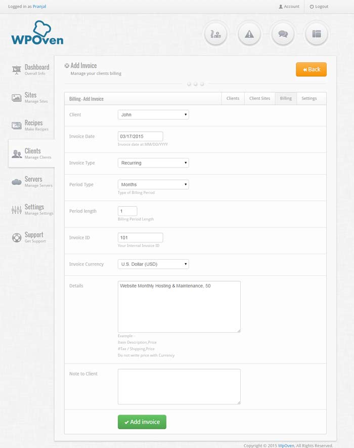 Generating an invoice for the client