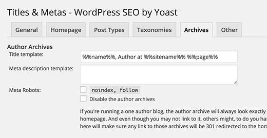 Yoast archive title settings