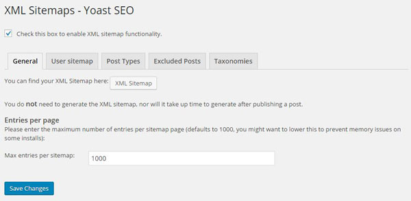 Yoast SEO XML general settings