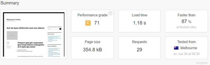 MediaTemple site load time from Melbourne, Australia