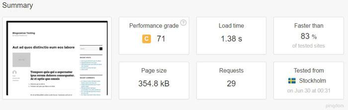 MediaTemple site load time from Stockholm, Sweden