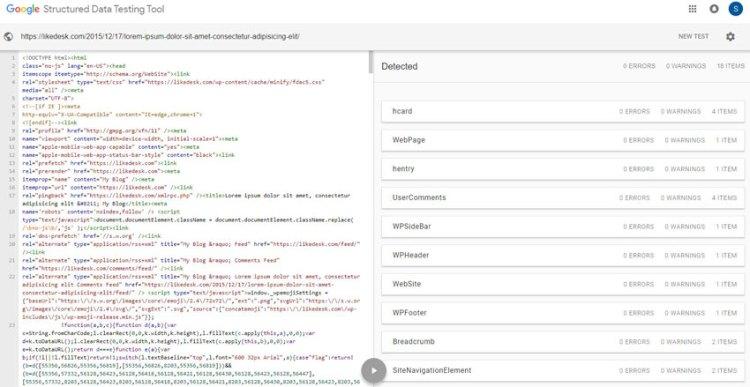 Google structure data test