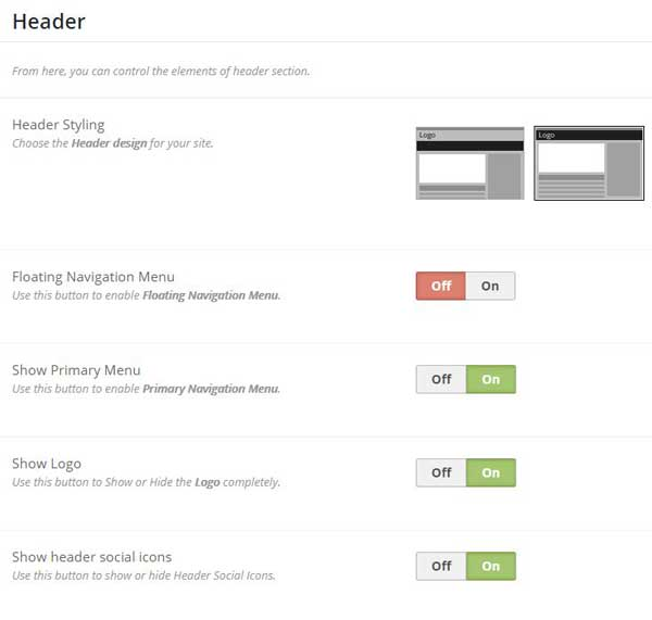 header options WordPress