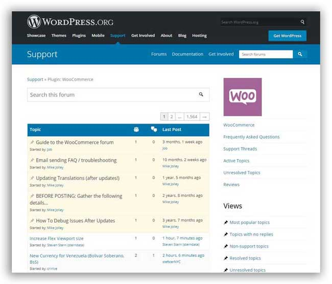 WooCommerce official free support forum WordPress