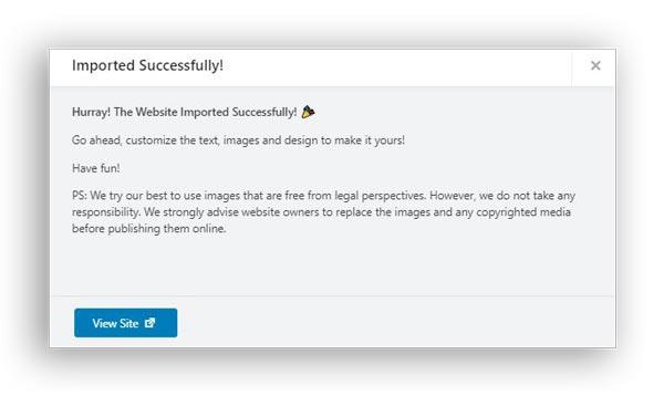 website design imported template in wordpress