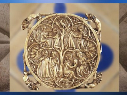 D'après le thème de l'Amour et l'Arbre de Vie, XIIe siècle apjc, ivoire, Art Gothique, France. (Marsailly/Blogostelle)